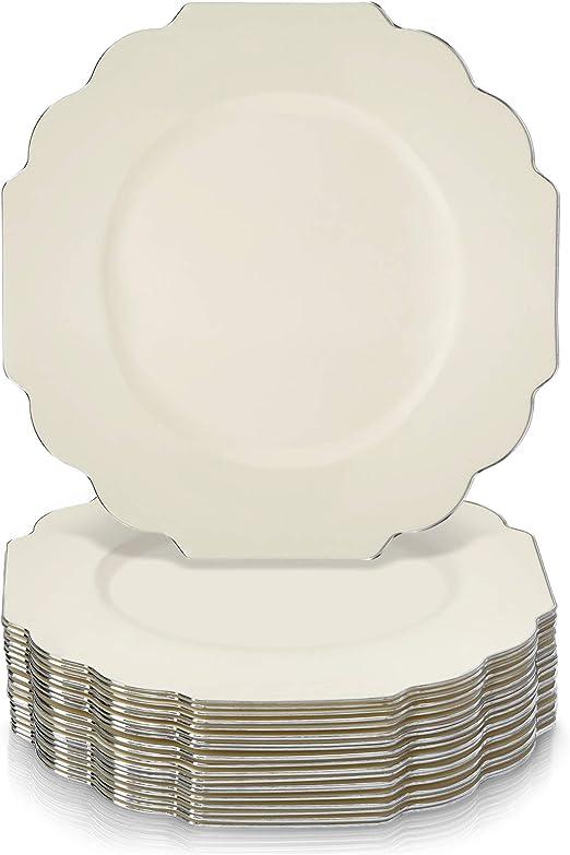 VAJILLA DESECHABLE DE 30 PIEZAS 10 platos grandes 10 platos de postre Platos de pl/ástico resistente|Aspecto de porcelana Colecci/ón Veil - Marfil Bodas y cenas de lujo 10 platos de ensalada