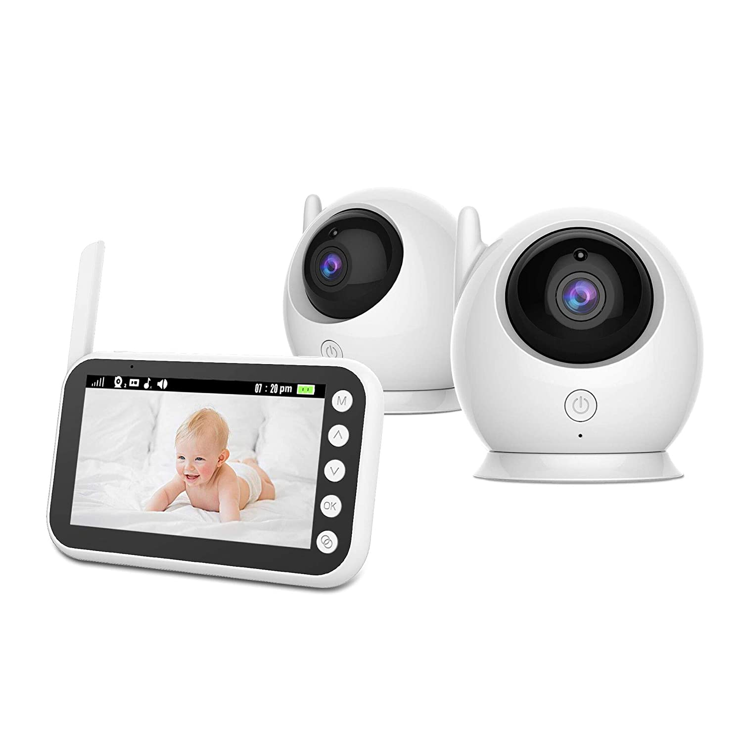 Baby Monitor Wireless Video with Two Cameras, 4.3 Large LCD Screen, Night Vision Camera, Video Recording and Two Way Audio System