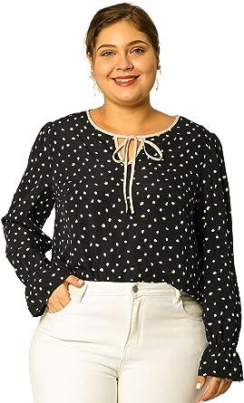 Agnes Orinda Blusa Lunares Talla Grande Corbata Manga Larga Camisa con Volantes para Mujer Negro 1X: Amazon.es: Ropa y accesorios