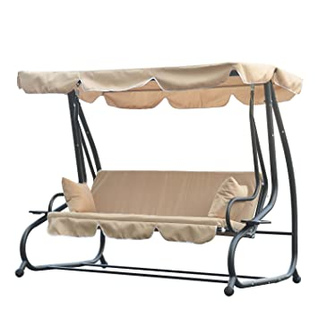 outsunny swinging 3 seater garden hammock swing seat chair bench luxury  2 free pillows outsunny swinging 3 seater garden hammock swing seat chair bench      rh   amazon co uk