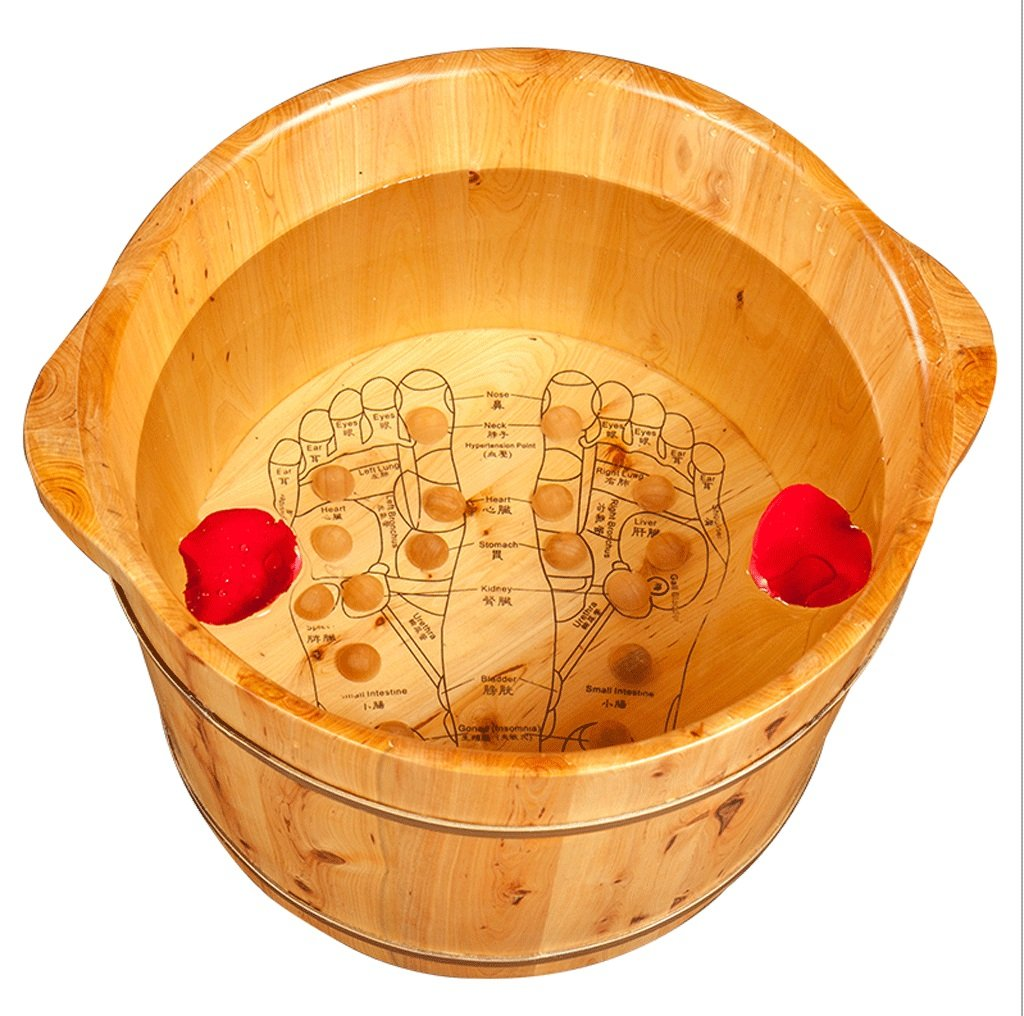 DGF Foot Tub, Foot Tub,Home Solid Wood Acupuncture Points Massage Foot Basin (L40cm * H27cm) Great St.