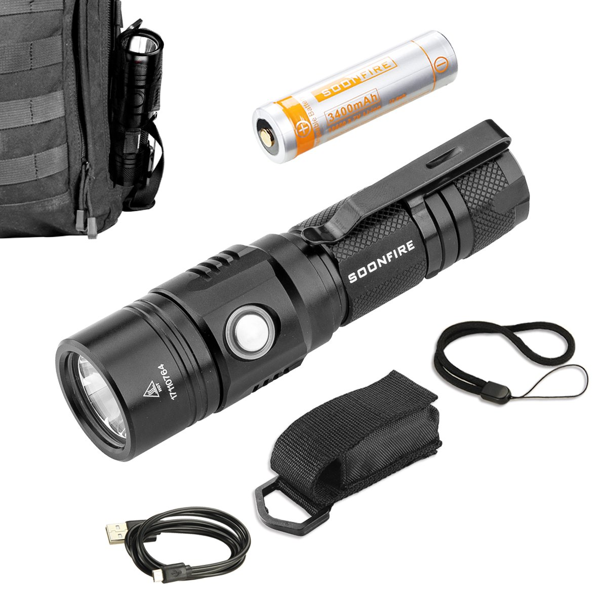 Cree XP-L LED Rechargeable Flashlight,Soonfire E07 USB Waterproof 1000 Lumen Compact EDC Flashlight with type 18650 3400mAh rechargeable Li-ion battery by soonfire (Image #5)