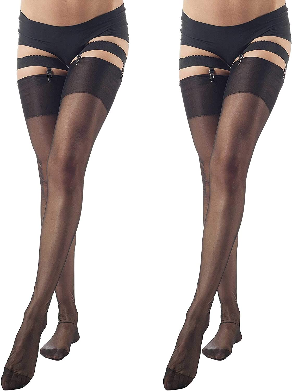 ElsaYX Damen Halterlose Str/ümpfe Nylon Overknees High Stockings