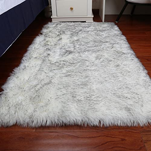 Sheepskin Faux Fur Shag Rug for Bedroom Living Room or Nursery,Faux Sheepskin Shaggy Area Rugs Children Play Carpet White with Grey,8x10ft