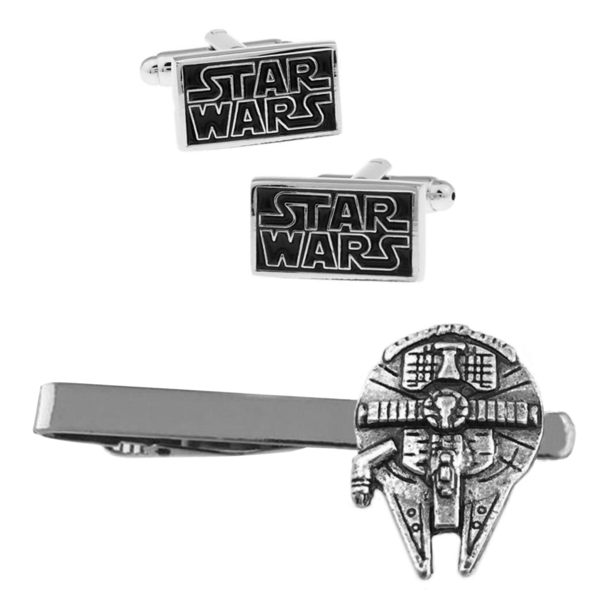 Outlander Star Wars Text Cufflink & Millenium Falcon Tiebar - New 2018 Star Wars Movies - Set of 2 Wedding Logo w/Gift Box