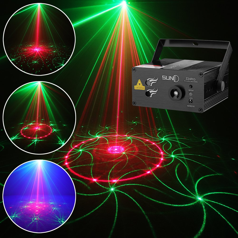 SUNY 24 RG Patterns Sound Activated Party Laser Lights with Remote Control by SUNY