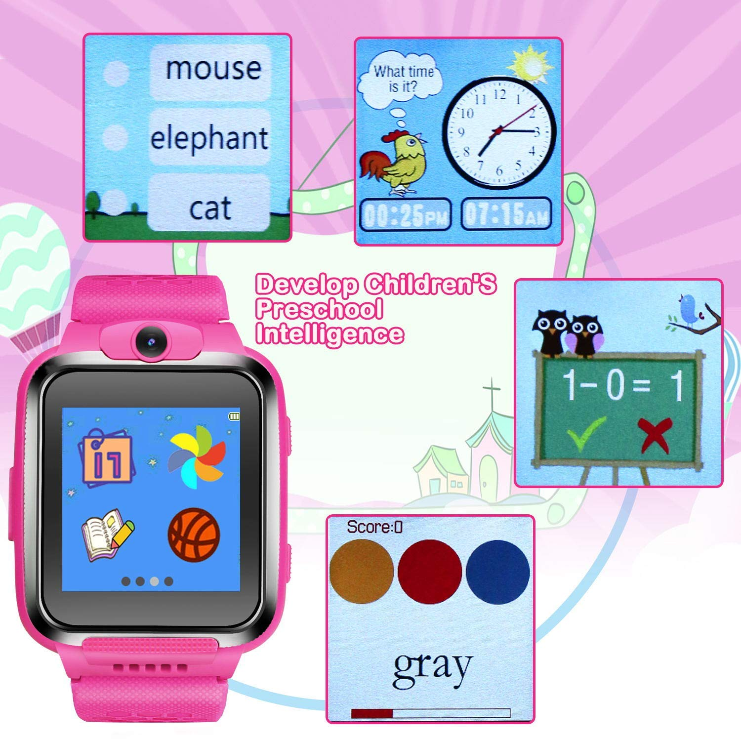 ZOPPRI Kids Game smartwatch Touch Screen Kinds of Games Kids Watch Theme Calendar Stopwatch Alarm Clock Photo Timer Multi-Function Watch Toy Gift for 3-12 Years Old boy Girl Birthday Gift (Pink) by ZOPPRI (Image #3)