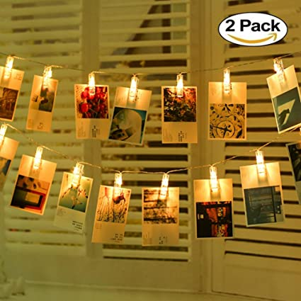 Amazon.com : LED String Lights with Photo Clips Battery Operated ...