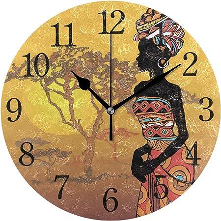 WowPrint Horloge Murale, Femme Africaine en Acrylique Rond Non tic-tac  horloges Peinture d\'art décoratif pour Office Salle de Classe Maison  Chambre à ...