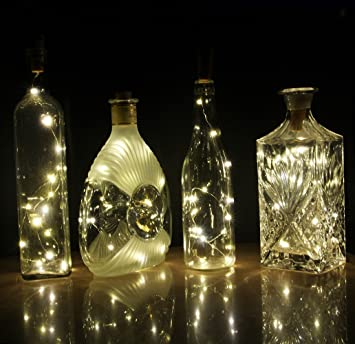 Beautiful COSOON Set Of 6 Wine Bottle Cork Lights Copper String Lights   15LED 28Inch  Wire String