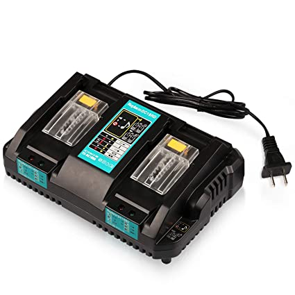 Energy tech 18V Battery Charger DC18RD Dual Ports Fast Charge 4A 120W for Makita Lithium-Ion Battery BL1415 BL1430 BL1830 BL1840 BL1850 BL1850B ...