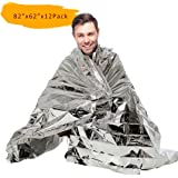 [12 Packs/6 Packs] 210*160 CM PAMASE Extra Large Emergency/Survival Blanket - Moistureproof and 90% Heat Retention