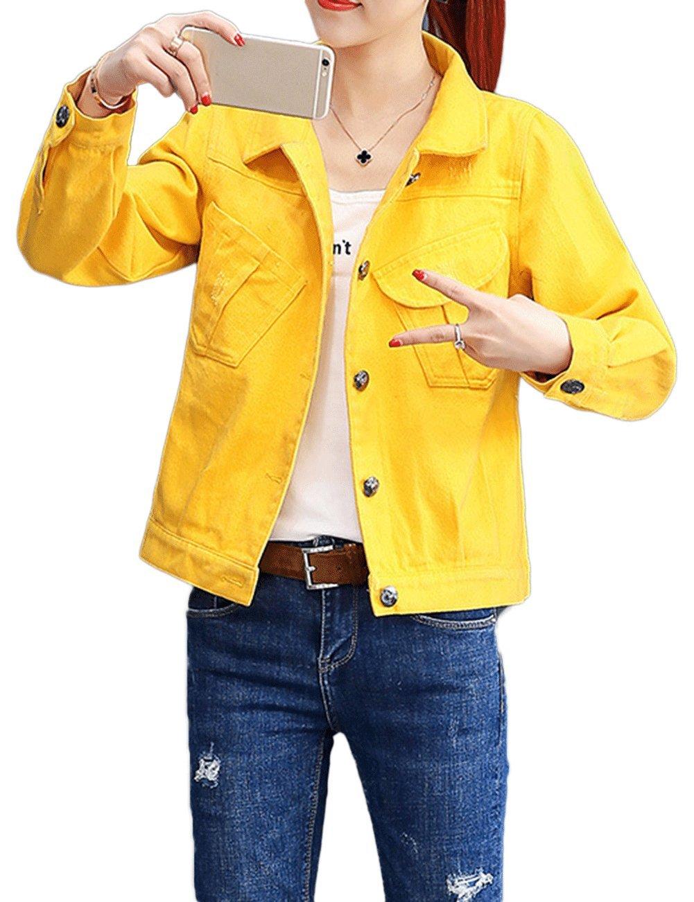 ZLSLZ Womens Grils Casual Cute Ripped Denim Jean Trucker Jacket Coat Yellow US L
