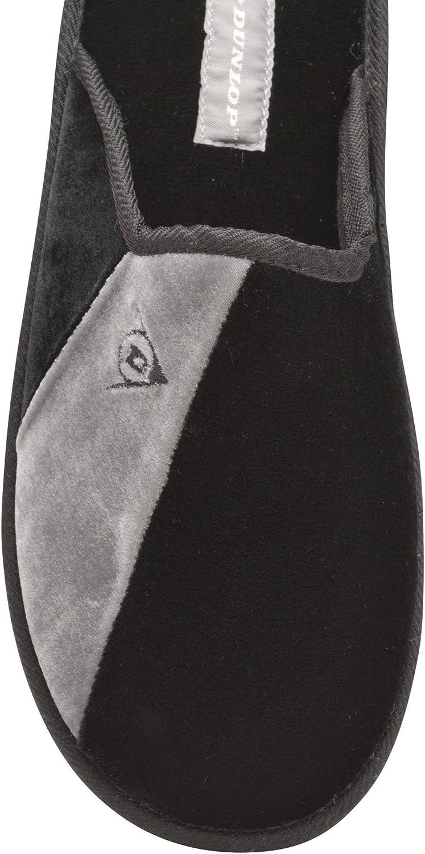 12 US DUNLOP Mens Dunkirk Memory Foam Insock Slip On Stripe Design Mule Slippers Black