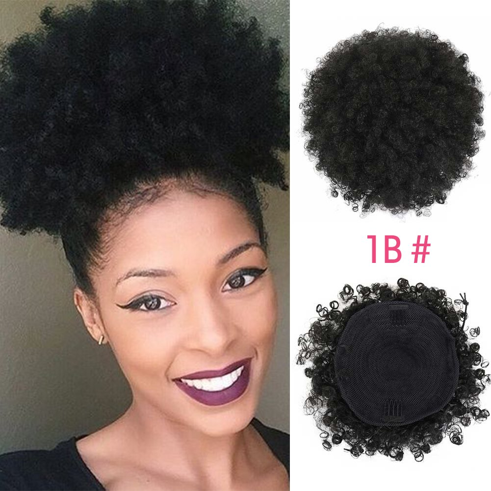 SCENTW Synthetic Curly Hair Ponytail African American Short Afro Kinky Curly Wrap Synthetic Drawstring Puff Ponytail Hair Extensions Wig with Two Clips (Black) by SCENTW
