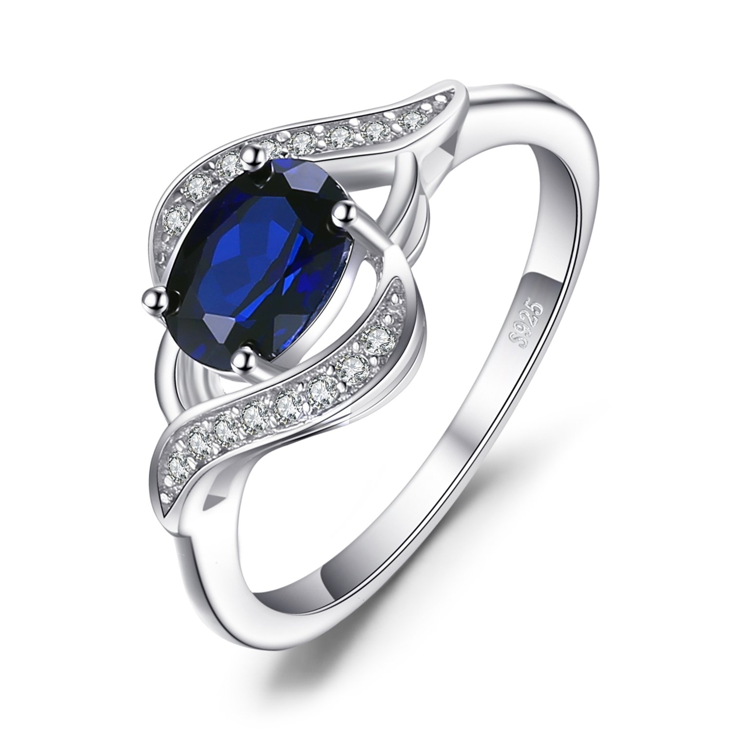 JewelryPalace 1.1ct Created Blue Sapphire Statement Ring 925 Sterling Silver Size 8