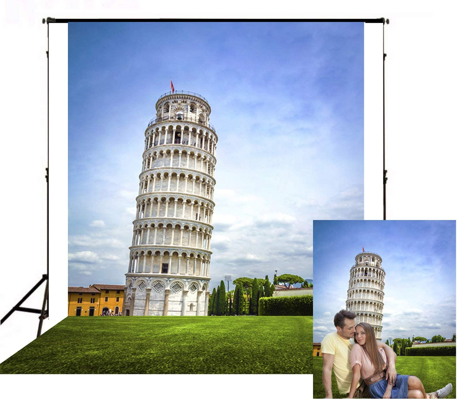 Pisa Tower Under Blue Sky Photo Background 5X7ft Landmark of Italy Photography Backdrop for Photo Studio Video Room Props BT006