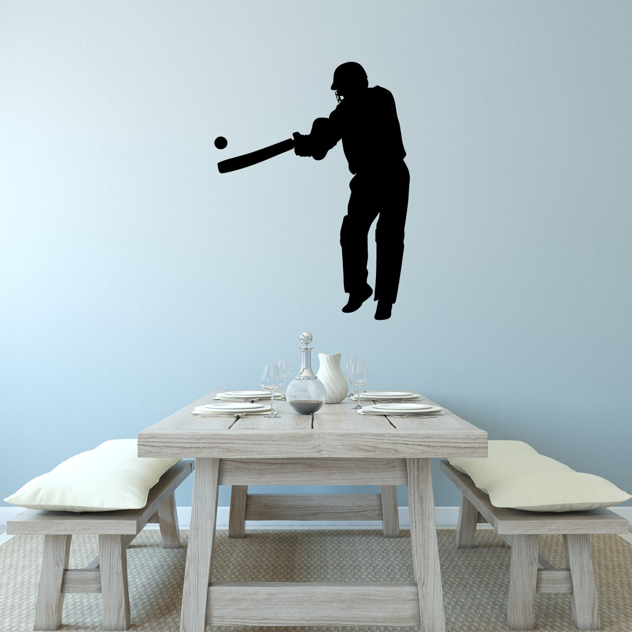 Decal Stickers and Mural for Kids Boys Girls Room and Bedroom Cricket Ball Sport India Wall Art for Home Decor and Decoration Cricket Silhouette Mural Cricket Wall Decal Sticker 11