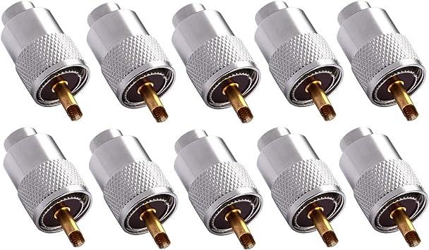 Thlevel UHF/PL-259 Conector Enchufe Coaxial de Soldadura Macho con Reductor para Antena de Radio CB Ham, Paquete de 10, Plateado, bidireccional ...