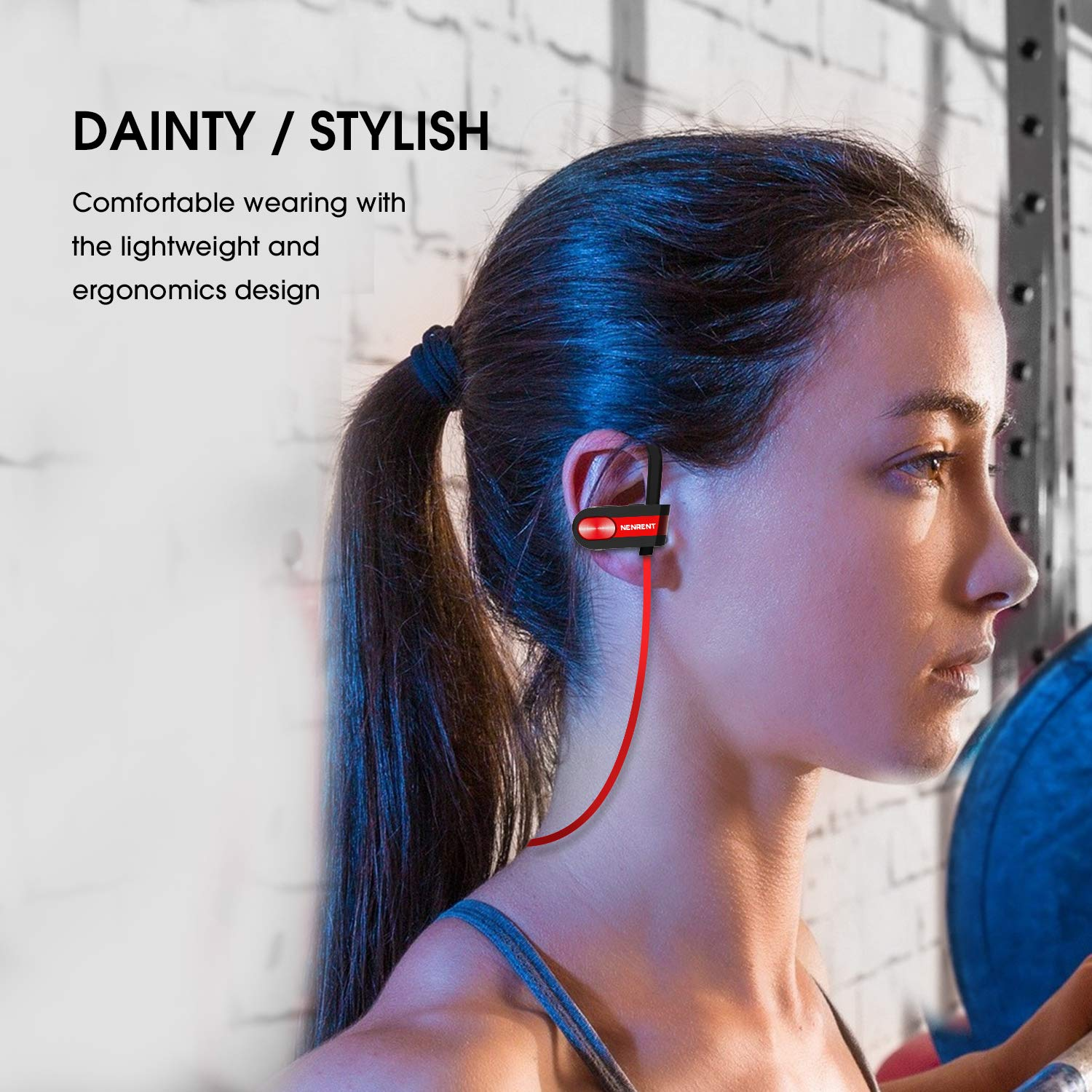 NENRENT Bluetooth Headphones, Q7 IPX7 Waterproof Sports Wireless Earbuds w/Mic, Noise Canceling Headsets HD Stereo in Ear Earphones Exercise 8 Hour Battery