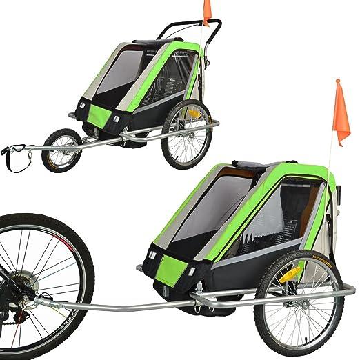5 opinioni per Rimorchio porta-bimbo biammortizzato per bicicletta con set da jogging- VERDE