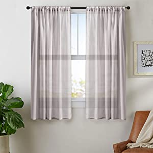 MRTREES Grey Sheer Curtains 54 inches Long Bedroom Window Curtain Sheers 2 Panels Living Room Voile Curtain Panel Sheers Rod Pocket Basement Window Treatment Set