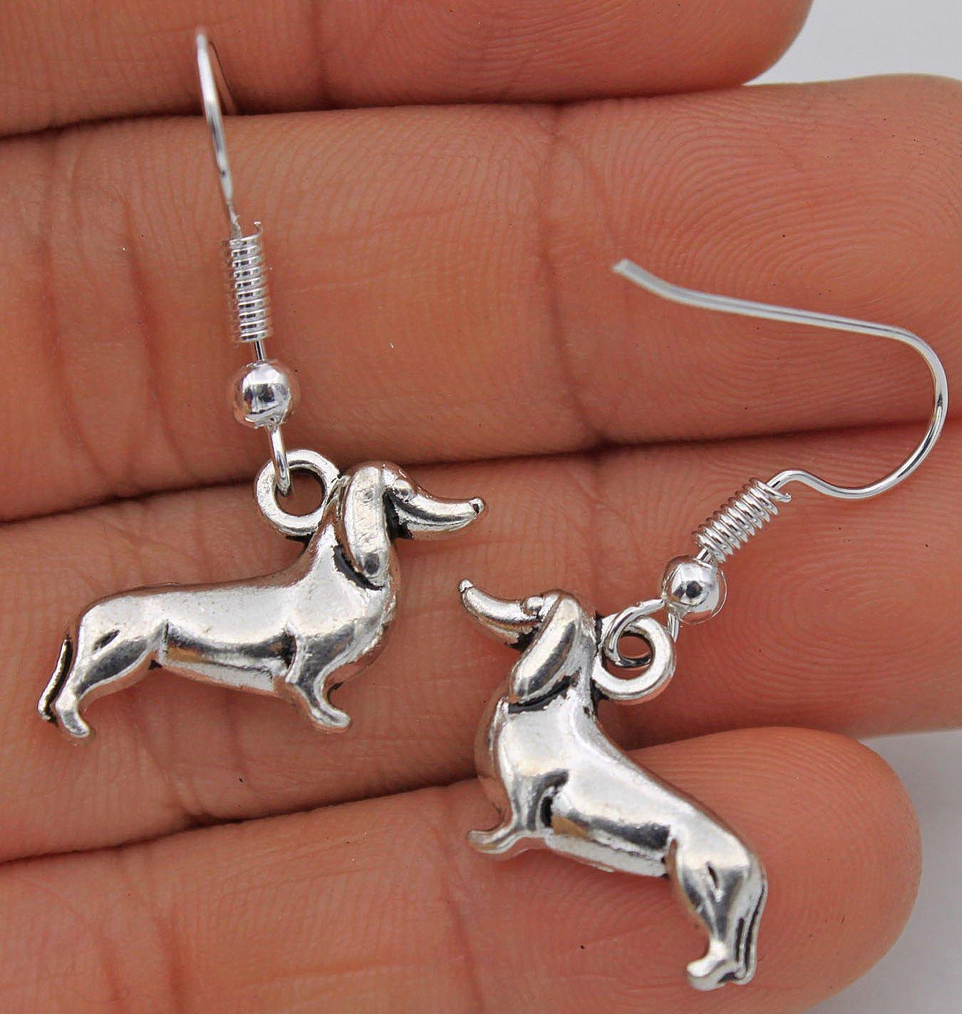 phitak Shop 925 Silver Plated Hook 1.4 Retro Dog Dachshund Women Earrings Jewelry #17