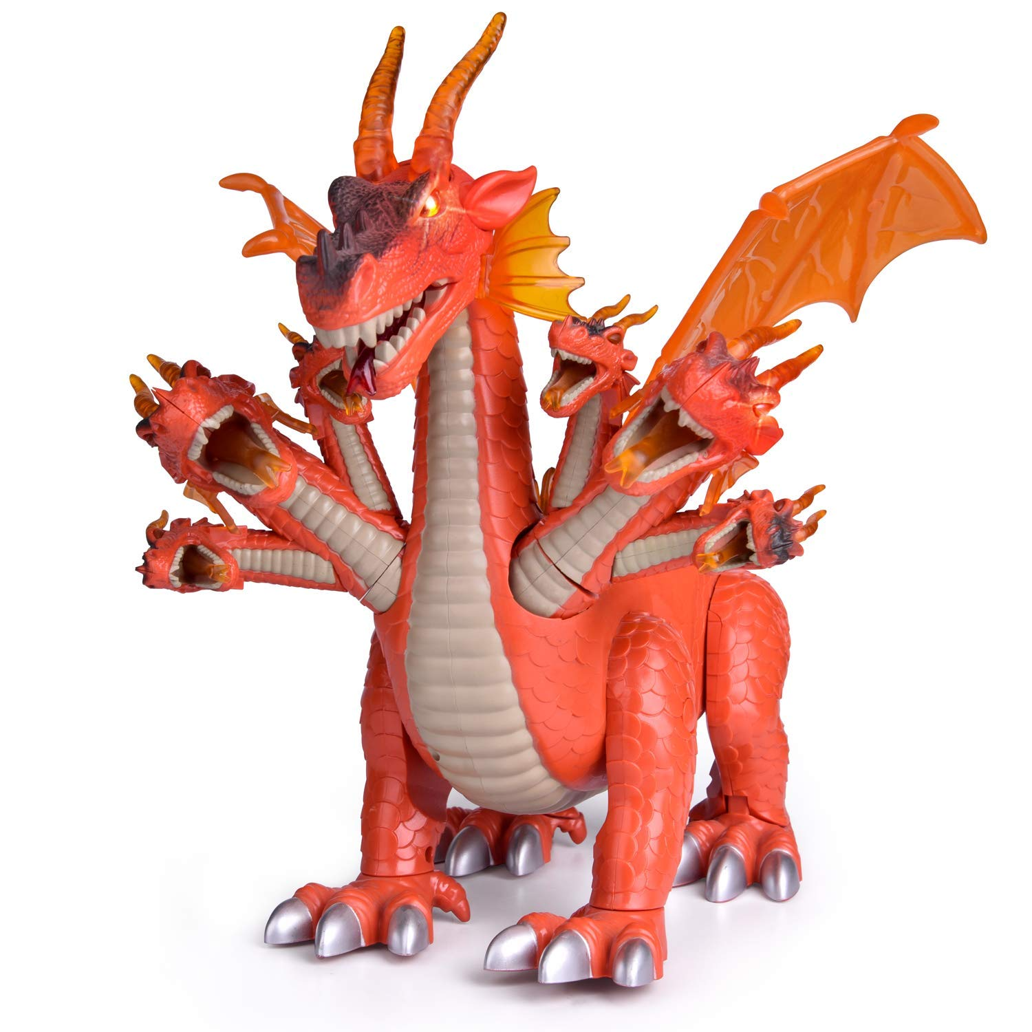 """FUN LITTLE TOYS 10"""" Dragon Toys for Boys and Girls, 7 Headed Walking Toy Dragon Figure with Lights and Sounds, Birthday Gifts for Kids"""
