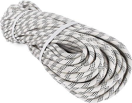 Cuerda de escalada Mophorn dinámica, 9,5 mm, 10,5 mm, 12 mm, de nailon, color blanco con cuerda de escalada de roca negra para escalada en roca