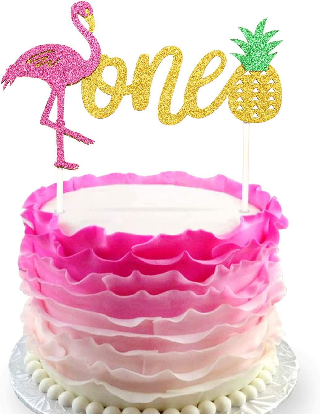 Amazon Com Flamingo Pineapple 1st First Birthday Cake Toppers Decoration Glitter One Tropical Hawaiian Luau Themed Party Supplies Kitchen Dining