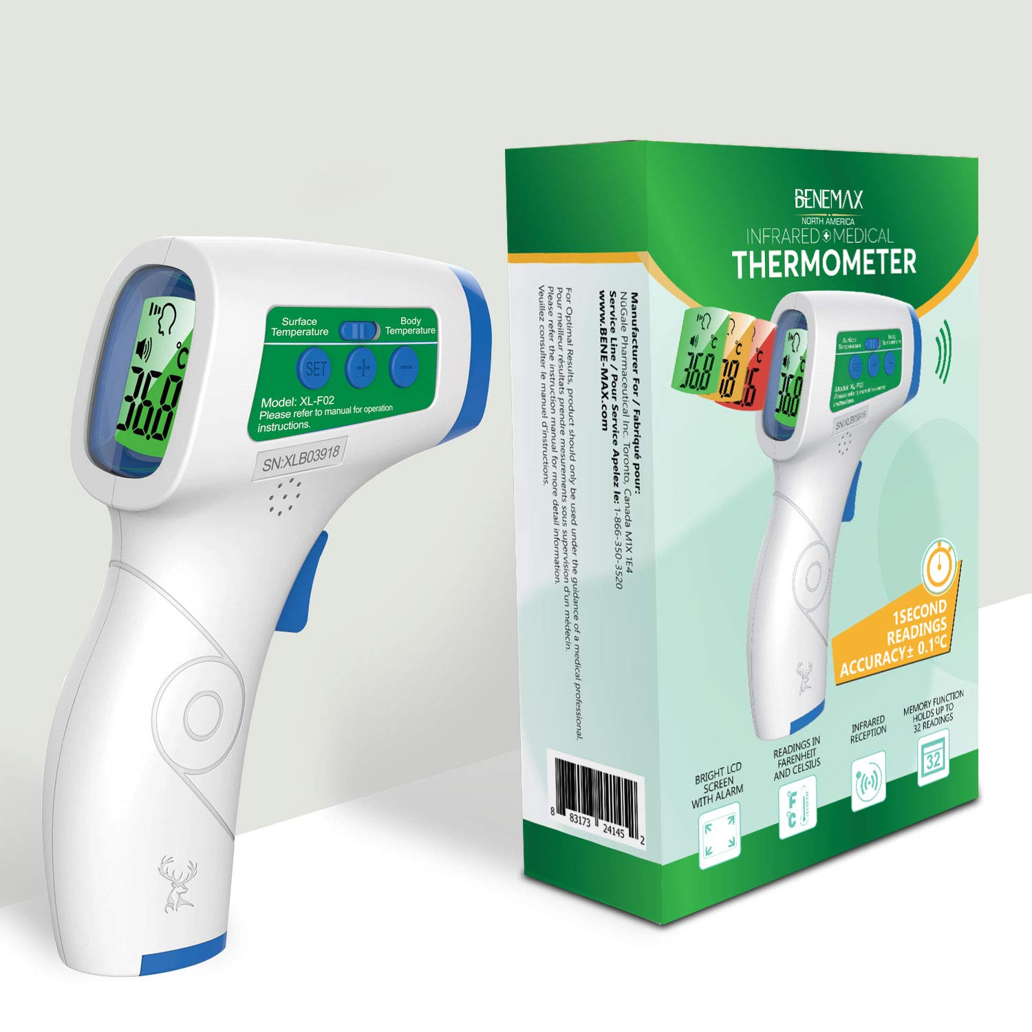 Infrared Thermometer Non-Contact Temperature Instant & Accurate Readings. LCD Display with High Pitched Alarm for Fever. Handheld. Safe for Children & Adults. 32 Memory Slots. Home and Business