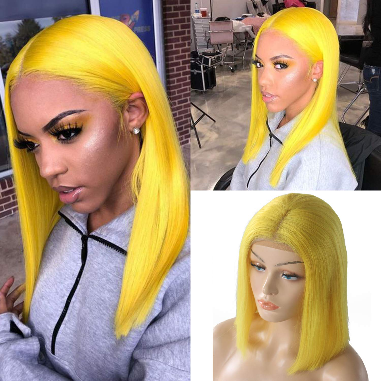 Yellow Lace Wig Short Bob Human Hair Wigs