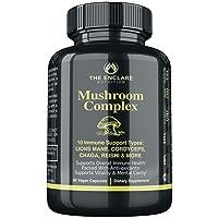 MUSHROOM SUPPLEMENT - 10in1 Mushroom Complex: Vegan Immune Support Supplement Lions Mane, Reishi, Turkey Tail, Cordyceps, Chaga, Maitake, Shiitake, Agaricus: Nootropic Brain, Immunity & Energy Booster