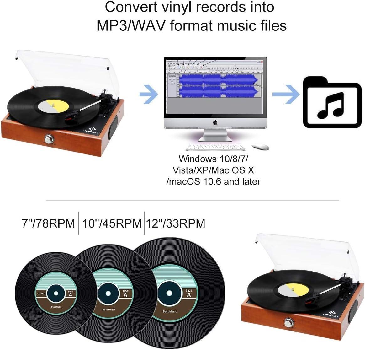 Vinyl Record Player JORLAI Turntable Black 3 Speed Bluetooth ...