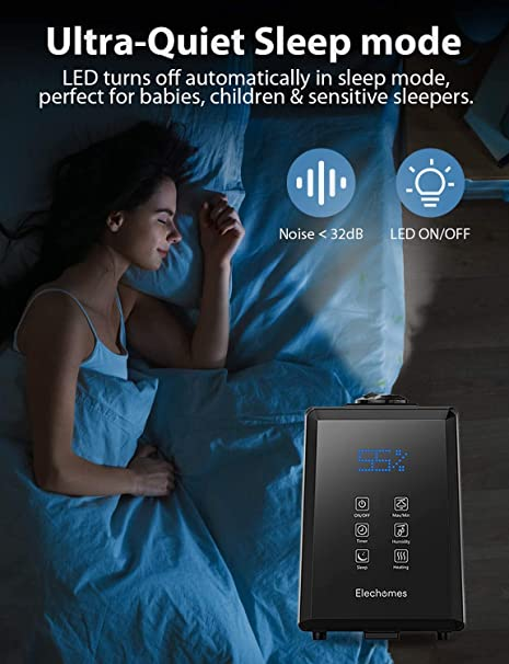 EC5501 Impostazione Umidit/à Nebbia Calda e Fredda Controllo Remoto//Manuale 3 Velocit/à 1-12 Ore Timer Modalit/à Sonno Elechomes Umidificatore ad Ultrasuoni 6L