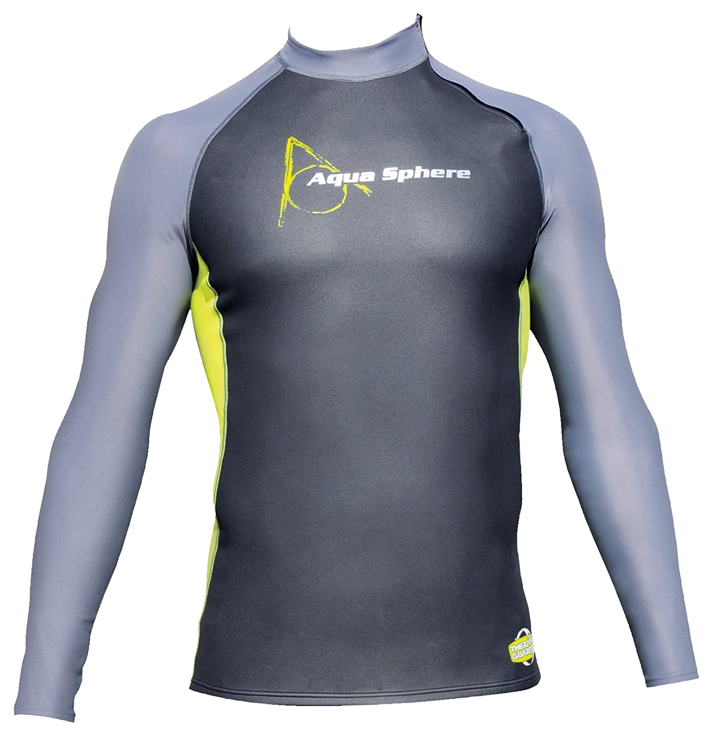 Aqua Sphere Men's Skin Long Sleeve Top-Black/Yellow, Medium