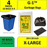 G-1™ Extra Large | 29 inch X 39 inch | 4 Packs of 10 Pcs - 40 Pcs | Disposable Garbage Trash Waste Dustbin Bags - Black