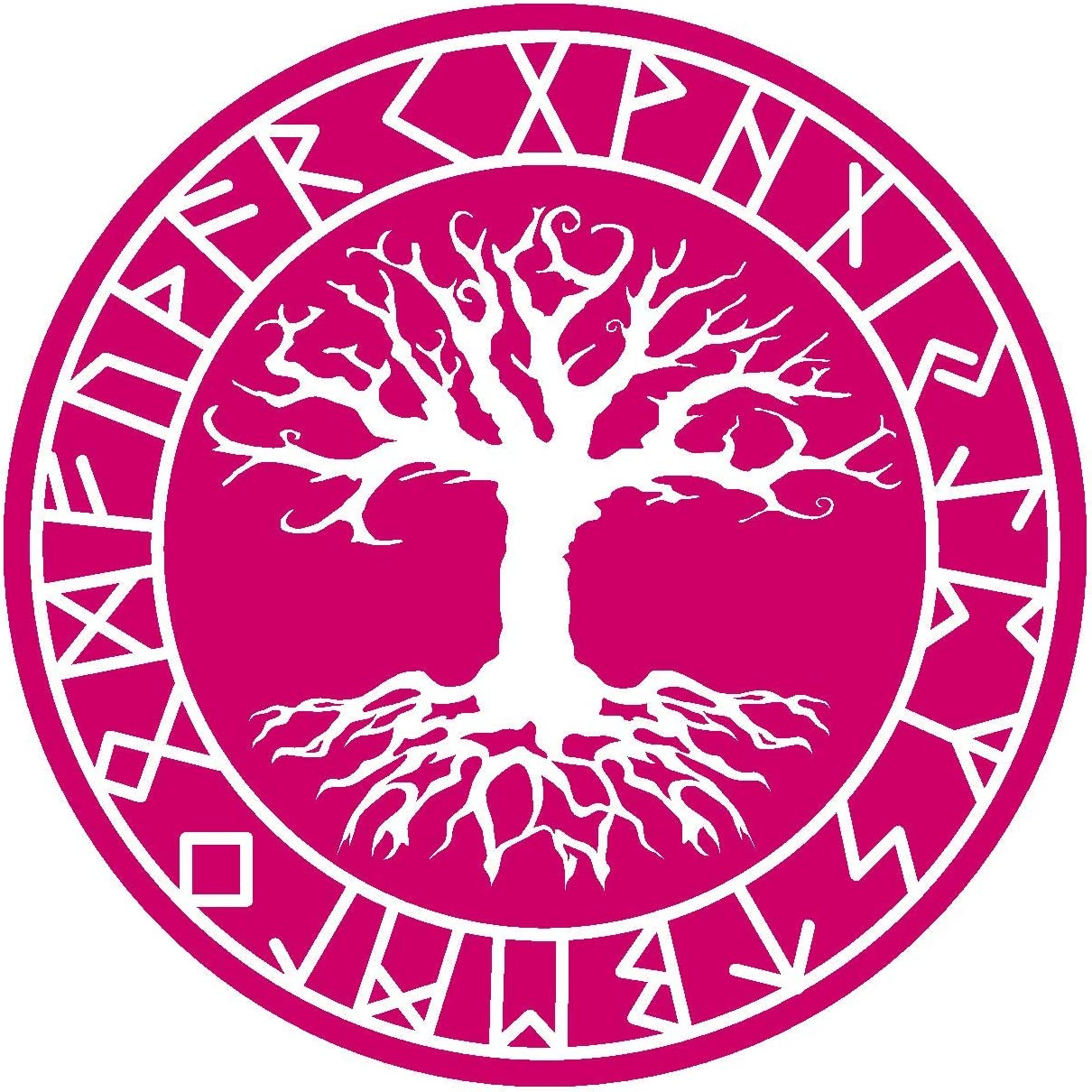 Samunshi Aufkleber Yggdrasil Mit Runen 4 Vikings Wikinger Für Auto Motorrad In 11 Größen Und 25 Farben 20x20cm Pink Küche Haushalt