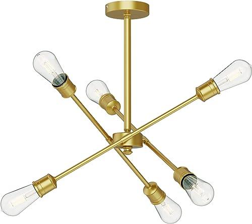SEOL-Light Sputnik 6 Lights Gold Vintage Close to Ceiling Lights Small Chandelier Hanging Pendant Light Fixtures Brass Brushed