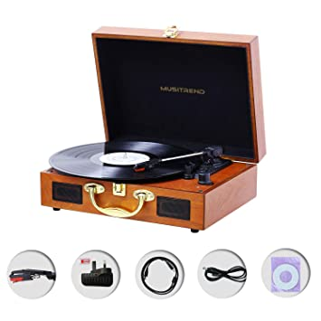 Record Player,3-Speed Vintage Portable Suitcase Turntable with Built-in  Stereo Speakers,Headphone Jack,PC Recorder,RCA Line out, Wooden