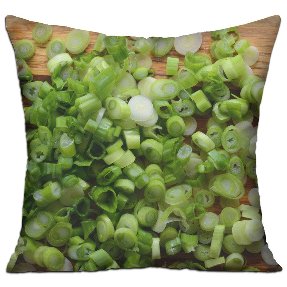 Xxxon Sliced Chopped Spring Onions Salad Onions Green Onions Or Scallions On Wood Background Soft Living Room Pillows 18x18