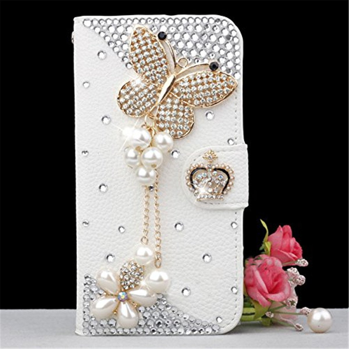adorehouse Huawei Y5 2018 Coque Etui Flip Paillette Brillante Bling Glitter Luxe 3D Cristal Sparkle Strass Case de Protection PU Holster Cuir Portefeuille Anti Choc Porte-carte Housse