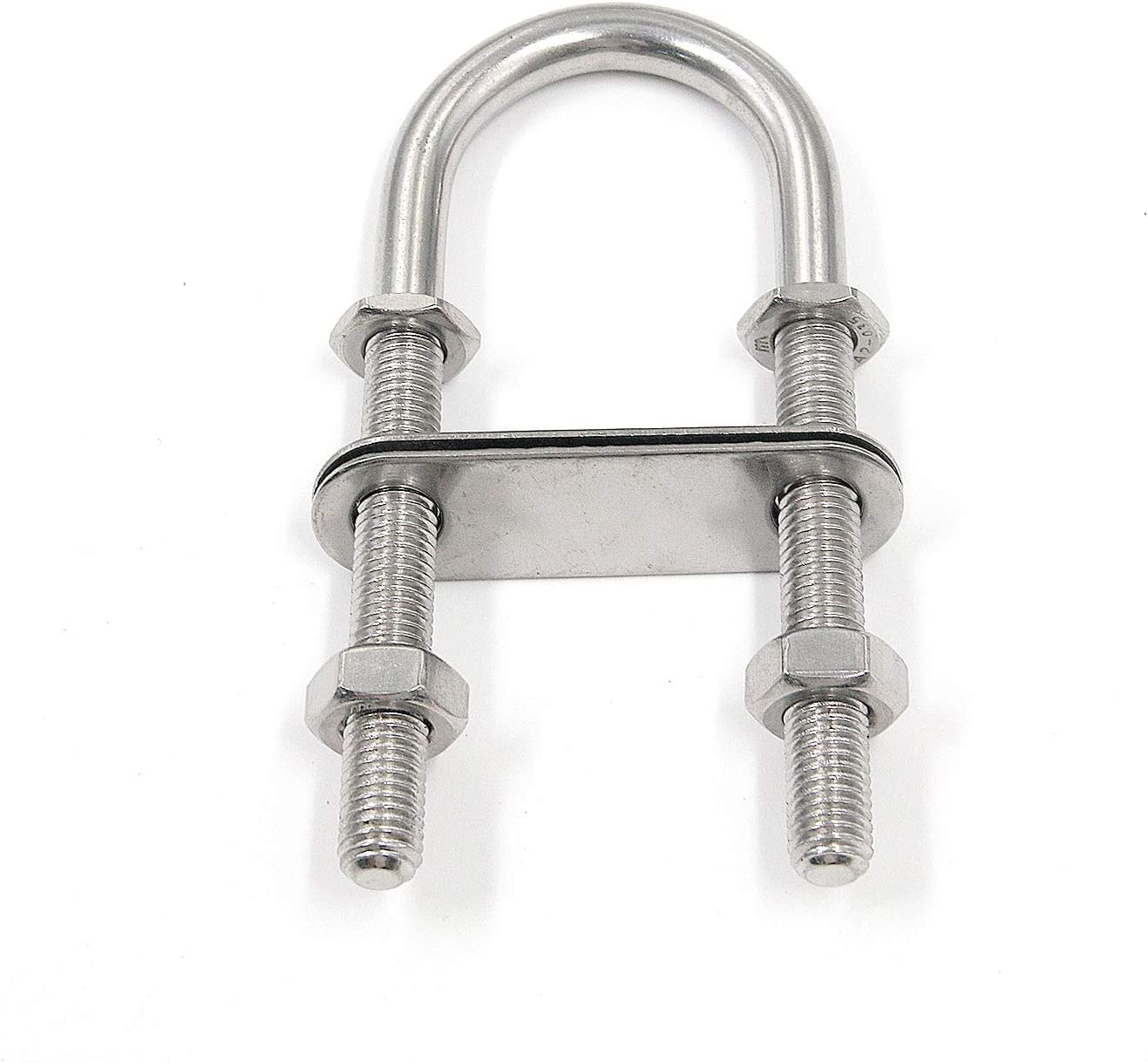 NovelBee 2-Pack 3//8 Stock Stainless Steel Stern Bow Eye U Bolt with Welding Plate,Washer and Hex Nuts Overall Length:4