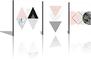Canvas Art Wall Decor for Bedroom Modern Pink Marble Abstract Geometric Pattern Wall Art Lily Pink Wall Pictures for Office Bathroom Girls Room