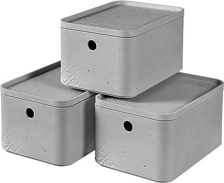 CURVER Pack de 3 Cajas Beton, Gris, S: Amazon.es: Hogar