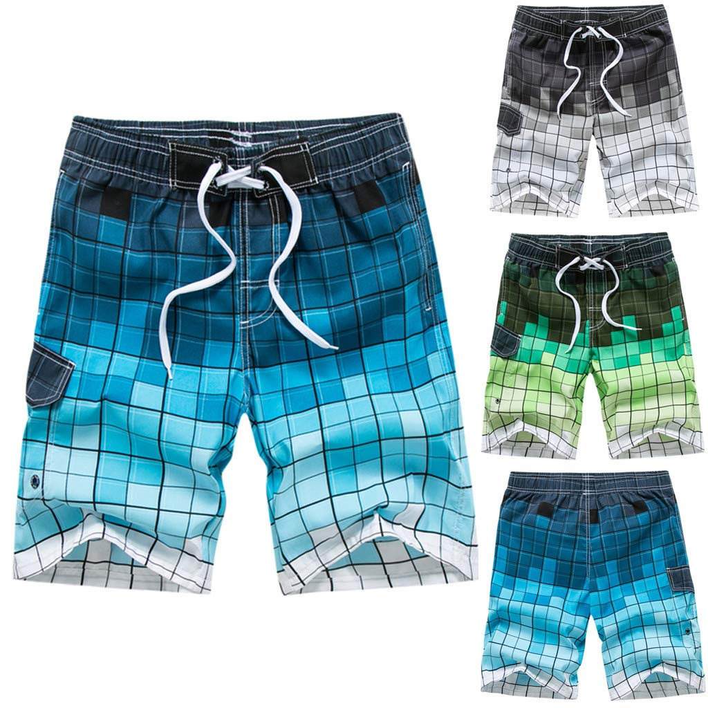 Coohole-01 Mens Fashion Casual Printing Patchwork Beach Surfing Swimming Loose Short Pants