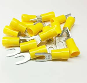 100X Assorted Crimp Spade Terminal Insulated Electrical Wire Connector Yellow Wv