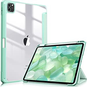 Fintie Hybrid Slim Case for iPad Pro 11-inch (3rd Generation) 2021 - [Built-in Pencil Holder] Shockproof Cover w/Clear Transparent Back Shell, Also Fit iPad Pro 11