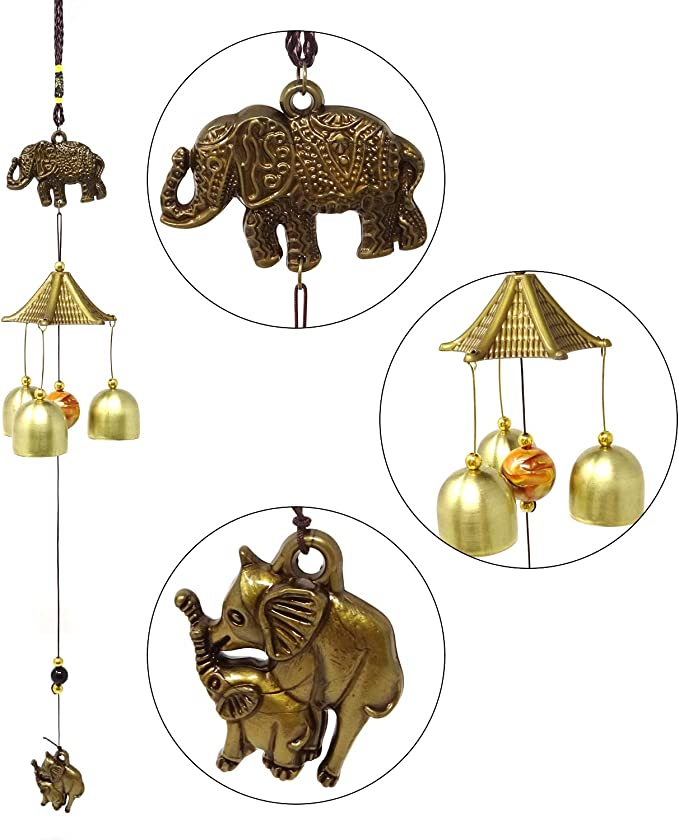 Feng Shui Vintage Wind Chime Bell Bronze Cow Bell Large Wind Chimes for Hanging Home Garden Christmas Decorations