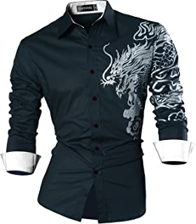 Mens Easy Care Dragon Printed Mandarin Collar Tee Shirt in Size Small to 9XL